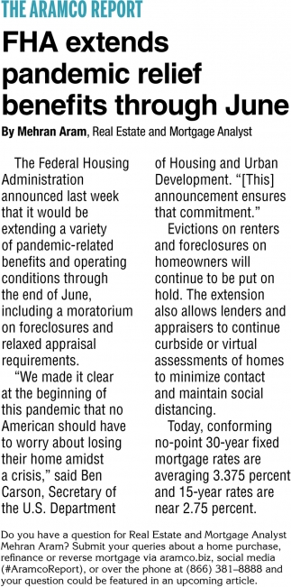 FHA Extends Pandemic Relief Benefits Through June