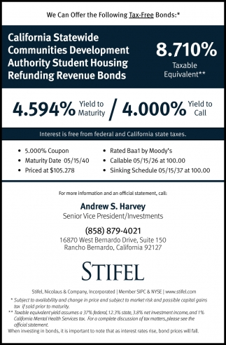 We Can Offer The Following Tax-Free Bonds
