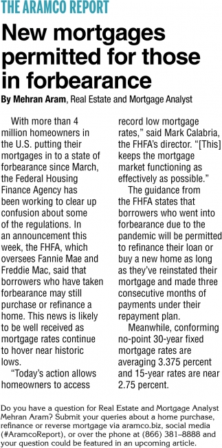 New Mortgages Permitted for Those In Forbearance