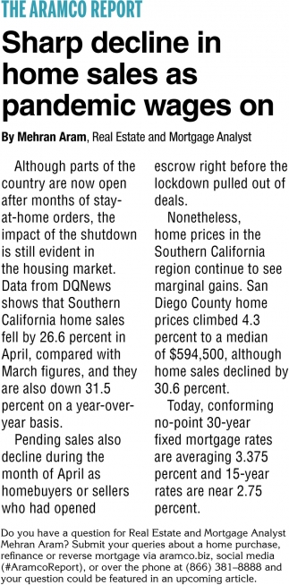 Sharp Decline In Home Sales as Panemic Wages On