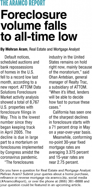 Foreclosure Volume Falls to All-Time Low