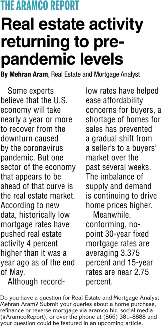 Real Estate Activity Returning To Pre-Pandemic Levels