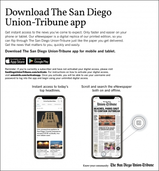 Doownload The San Diego Union-Tribune App