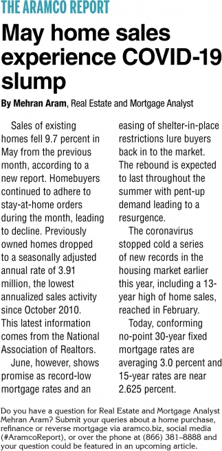 May Home Sales Experience COVID-19 Slump