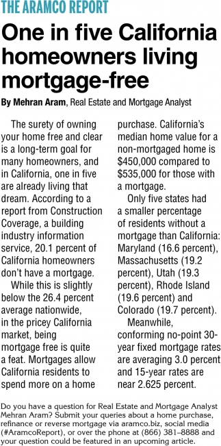 One In Five California Homeowners Living Mortgage-Free