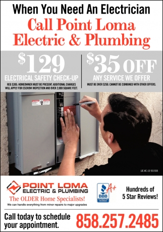 When You Need A Plumber Call Point Loma Electric & Plumbing