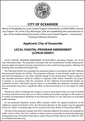 Notice of Availability For Local Coastal Program Amendment