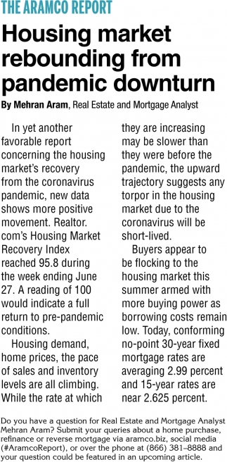 Housing Market Rebounding From Pandemic Downturn