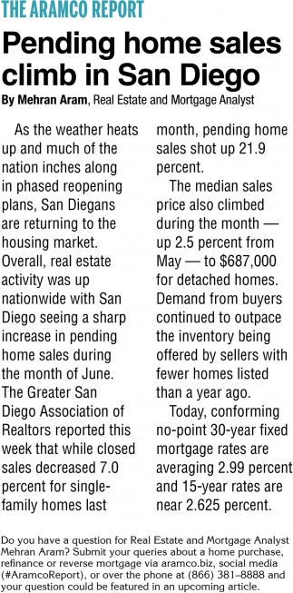 Pending Home Sales Climb In San Diego