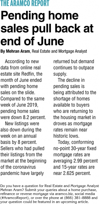 Pending Home Sales Pull Back at End of June