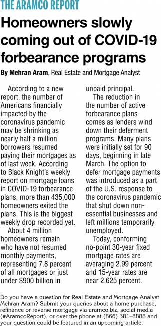 Homeowners Slowly Coming Out of COVID-19 Forbearance Programs