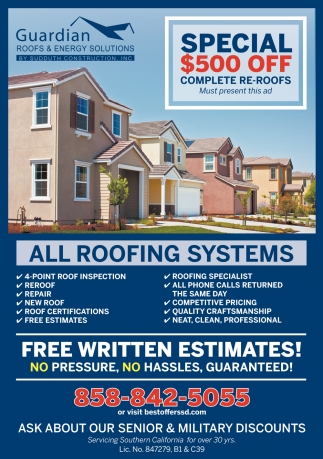Special $500 OFF Complete Re-Roofs