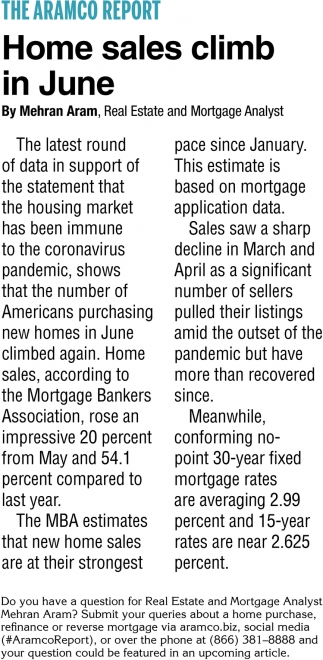 Home Sales Climb In June