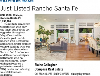 Just Listed Rancho Santa Fe