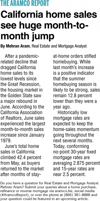 California Home Sales See Huge Month-To-Month Jump