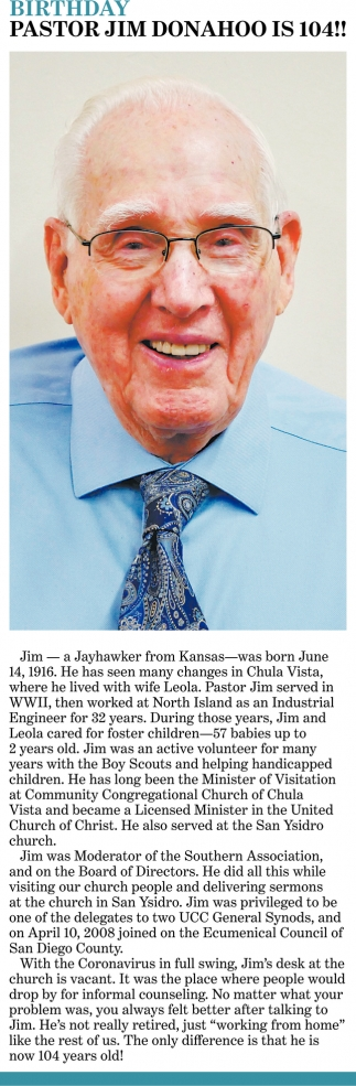 Pastor Jim Donahoo Is 104!!