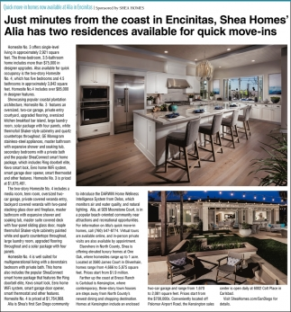 Quick Move-In Homes Now Available at Alia In Encinitas