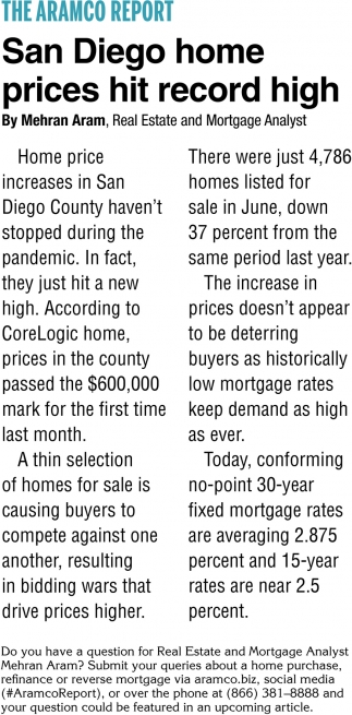 San Diego Home Prices Hit Record