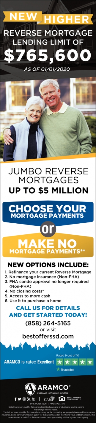New Higher Reverse Mortgage Lending Limit of $765,600