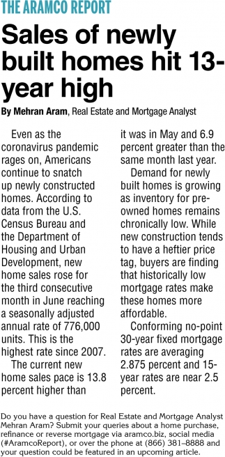 Sales of Newly Built Homes Hit 13-Year High