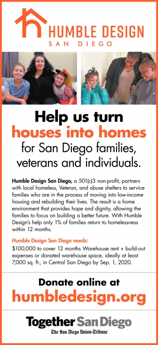 Help Us Turn Houses Into Homes for San Diego Families, Veterans and Individuals