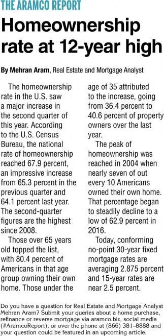 Homeownership Rate at 12-Year High