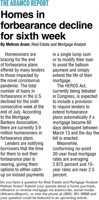 Homes In Forbearance Decline For Sixth Week