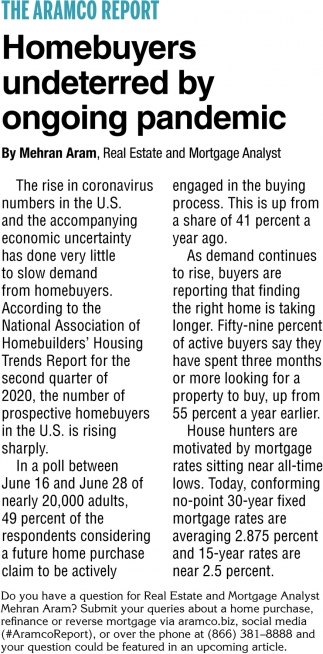 Homebuyers Undeterred By Ongoing Pandemic