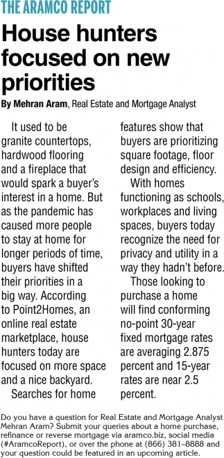 House Hunters Focused On New Priotities