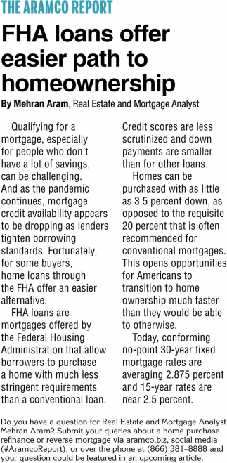 FHA Loans Offer Easier Path To Homeownership