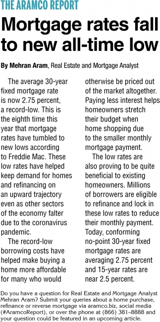 Mortgage Rates Fall To New All-Time Low