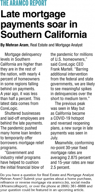 Late Mortgage Payments Soar in Southern California