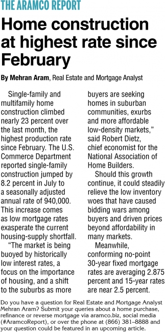 Home Construction At Highest Rate Since February