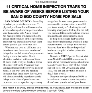 11 Critical Home Inspection Traps To Be Aware Of Weeks Before Listing Your San Diego County Home For Sale