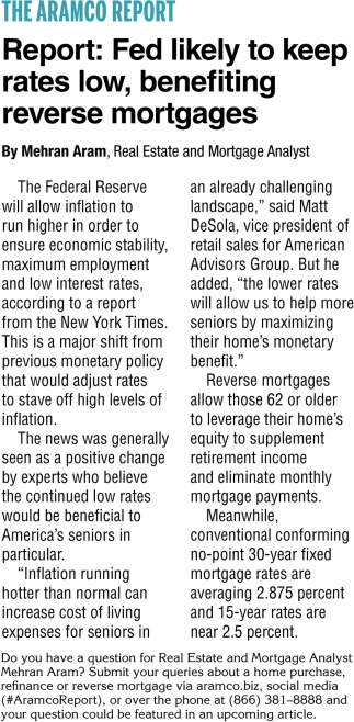 Fed Likely To Keep Rates Low, Benefiting Reverser Mortgages
