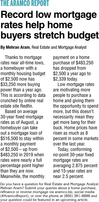 Record Low Mortgage Rates Help Home Buyes Stretch Budget