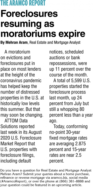 Foreclosures Resuming As Moratoriums Expire