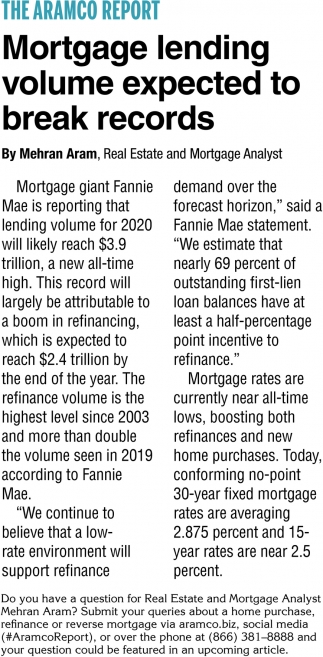 Mortgage Lending Volume Expected To Break Records