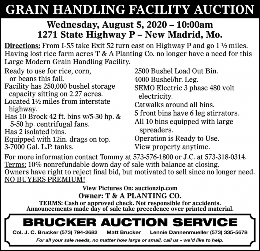 Grain Handling Facility Auction