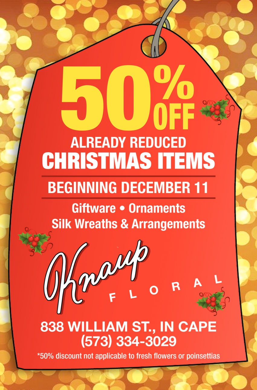 50% OFF Already Reduced Christmas Items