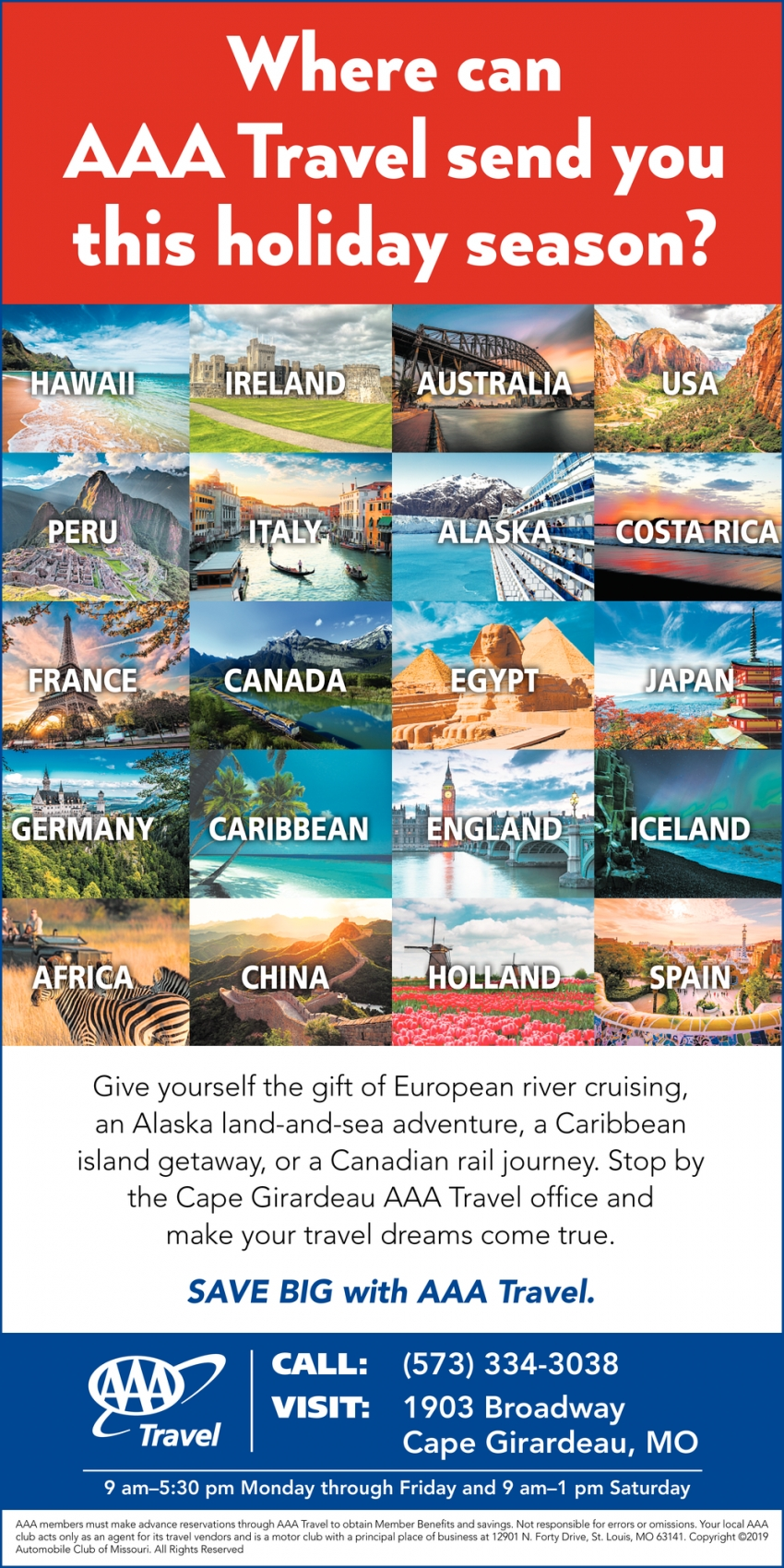 Where can AAA Travel send you this holiday season?