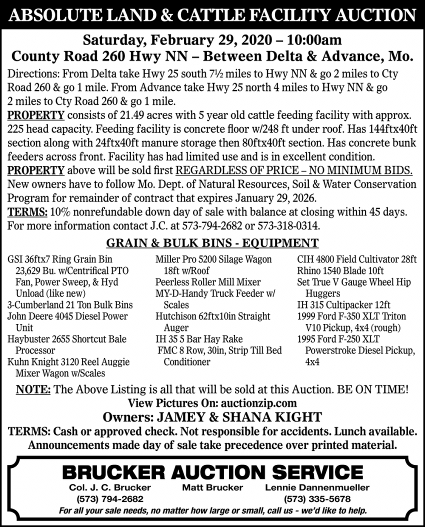 Absolute Land & Cattle Facility Auction