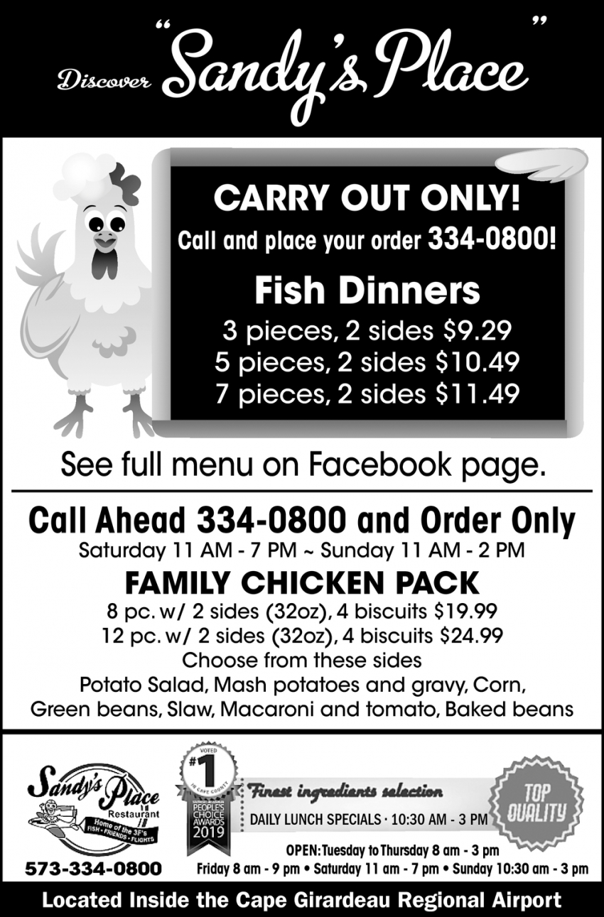 Carry Out Specials