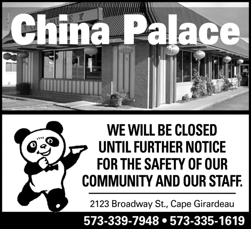 We Will be Closed Until Further Notice for the Safety of Our Community and Our Staff