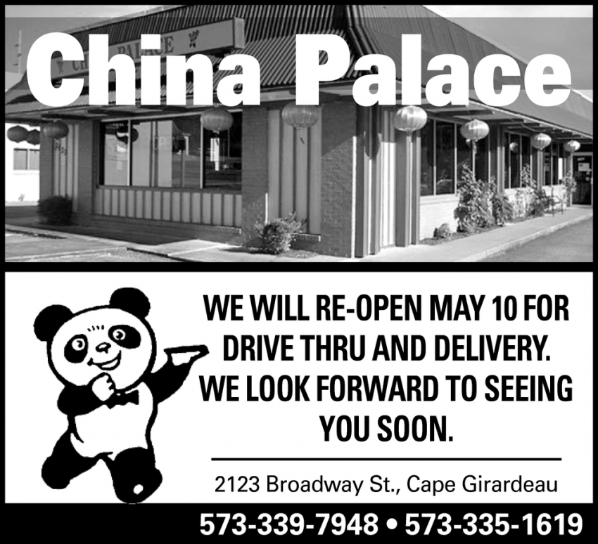 We Will Re-Open May 10 for Drive Thru and Delivery