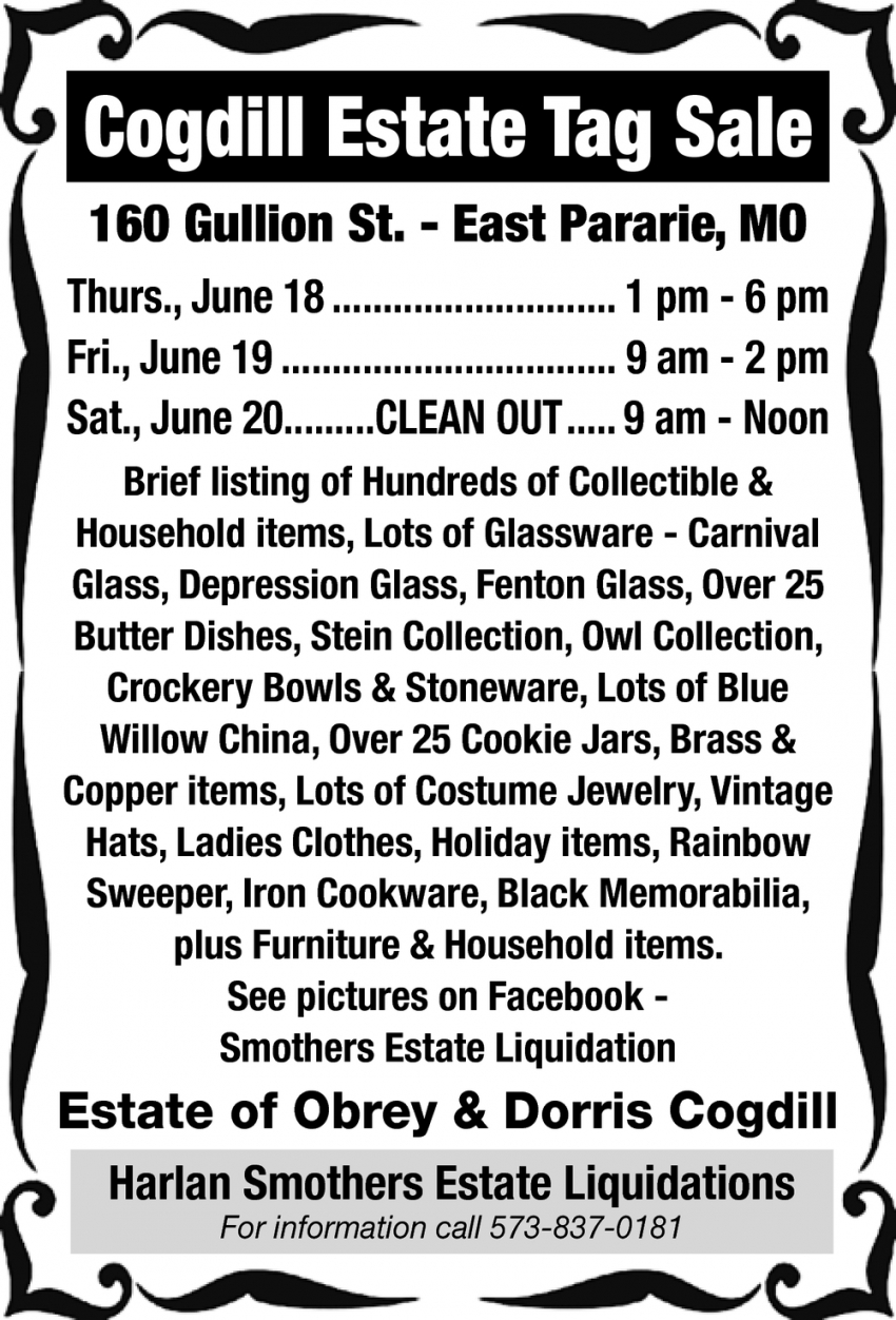 Cogdill Estate Tag Sale