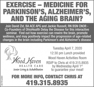 Exercise - Medicine for Parkinson's, Alzheimer's, and the aging brain?