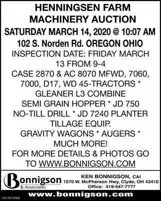 Henningsen Farm Machinery Auction