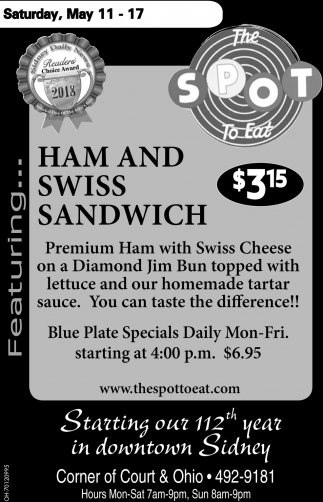 Ham and Swiss Sandwich $3.15