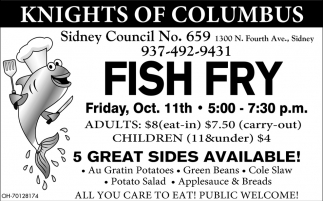 Fish Fry Oct. 11th